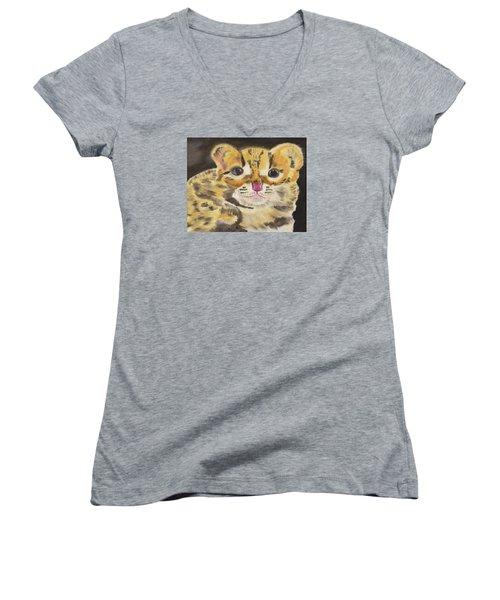 Peek A Boo Kitty Women's V-Neck T-Shirt (Junior Cut) by Meryl Goudey