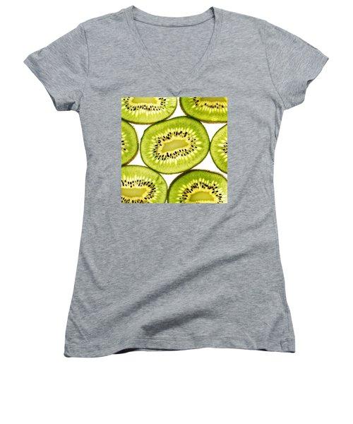 Kiwi Fruit IIi Women's V-Neck T-Shirt (Junior Cut) by Paul Ge