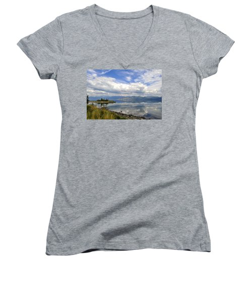 Women's V-Neck T-Shirt (Junior Cut) featuring the photograph Kluane Reflections by Cathy Mahnke