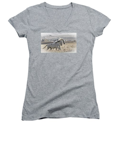 Knee Deep Women's V-Neck T-Shirt (Junior Cut) by Wes and Dotty Weber