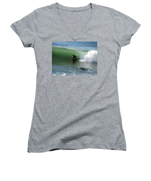 Know What Lies Beneath Women's V-Neck T-Shirt (Junior Cut) by Joe Schofield