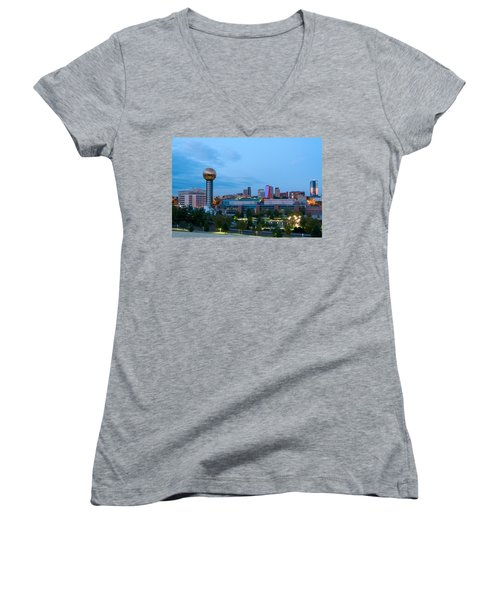 Knoxville At Dusk Women's V-Neck T-Shirt (Junior Cut) by Melinda Fawver