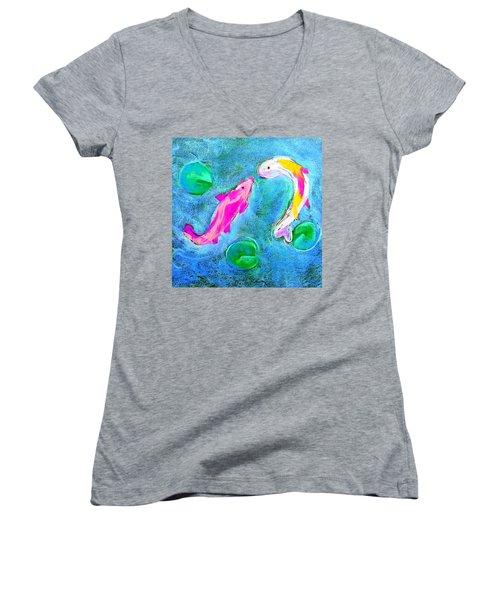 Kissing Kois Women's V-Neck T-Shirt