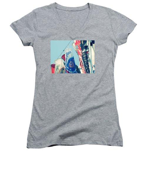 Koinobori Flags Women's V-Neck T-Shirt (Junior Cut) by Rachel Mirror