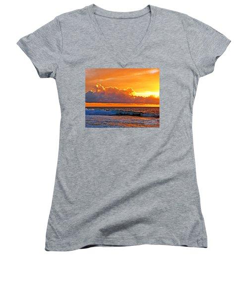 Women's V-Neck T-Shirt (Junior Cut) featuring the photograph Kona Golden Sunset by David Lawson