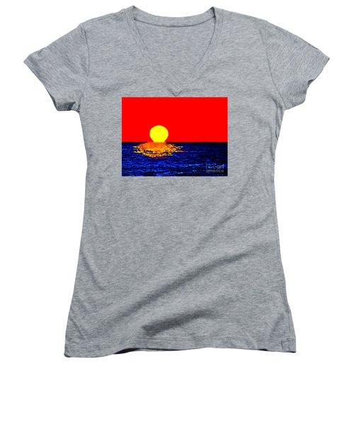 Kona Sunset Pop Art Women's V-Neck T-Shirt (Junior Cut) by David Lawson