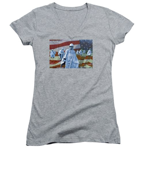 Korean War Veterans Memorial Bronze Sculpture American Flag Women's V-Neck (Athletic Fit)