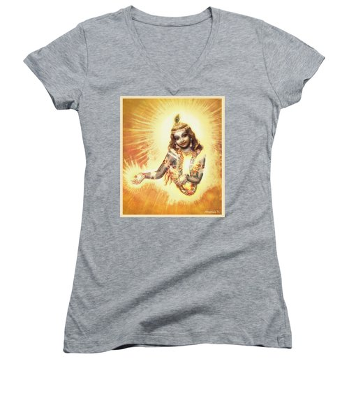 Krishna Vision In The Clouds Women's V-Neck (Athletic Fit)