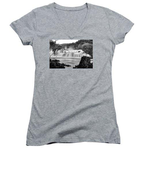 Krka Waterfalls Bw Women's V-Neck T-Shirt