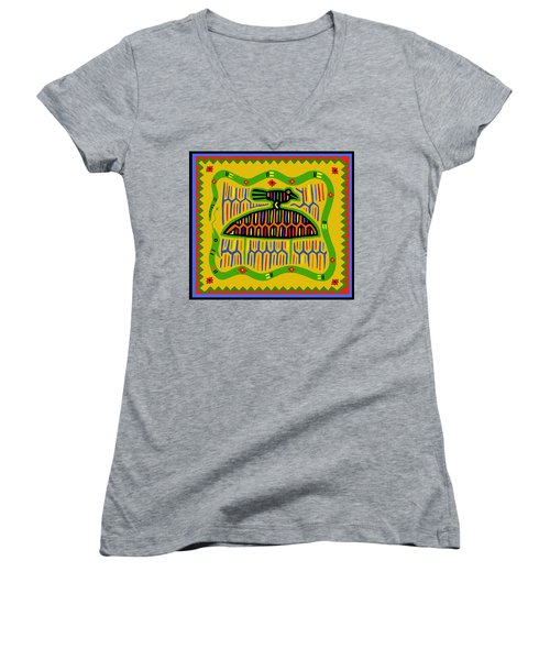 Women's V-Neck T-Shirt (Junior Cut) featuring the digital art Kuna Bird With Snake by Vagabond Folk Art - Virginia Vivier