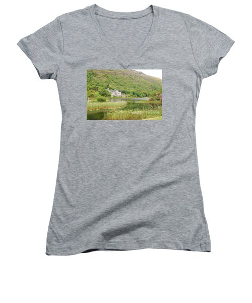 Women's V-Neck T-Shirt (Junior Cut) featuring the photograph Kylemore Abbey 1 by Mary Carol Story