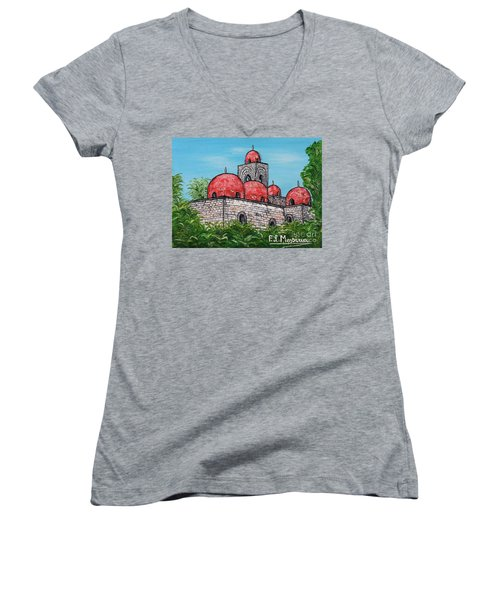 La Chiesa Di San Giovanni Degli Eremiti  Women's V-Neck T-Shirt (Junior Cut) by Loredana Messina