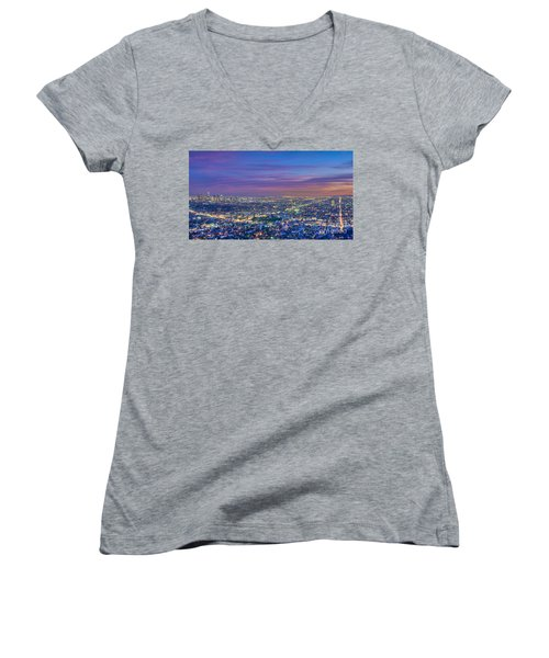 La Fiery Sunset Cityscape Skyline Women's V-Neck (Athletic Fit)
