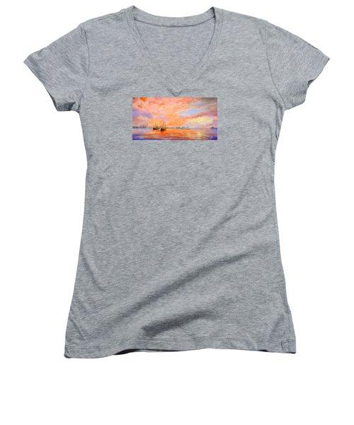 La Florida Women's V-Neck T-Shirt (Junior Cut) by AnnaJo Vahle