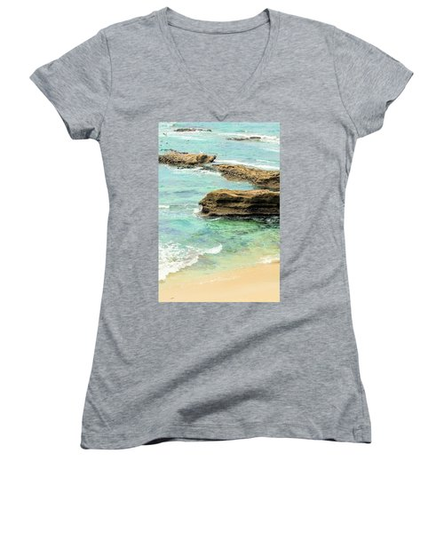 La Jolla Beach Rocks Women's V-Neck