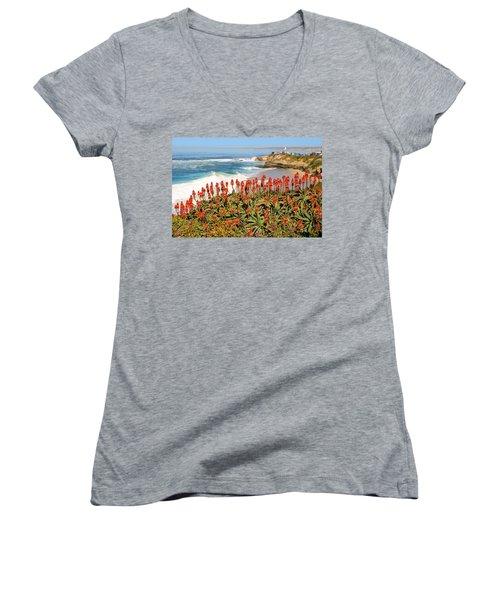 La Jolla Coast With Flowers Blooming Women's V-Neck