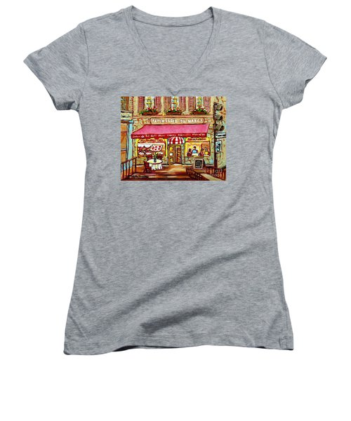 La Patisserie De Nancy French Pastry Boulangerie Paris Style Sidewalk Cafe Paintings Cityscene Art C Women's V-Neck