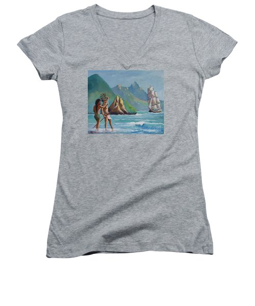 La Rencontre De Deux Mondes Women's V-Neck T-Shirt