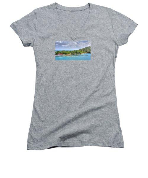 Labadee Women's V-Neck T-Shirt (Junior Cut) by Shelley Neff