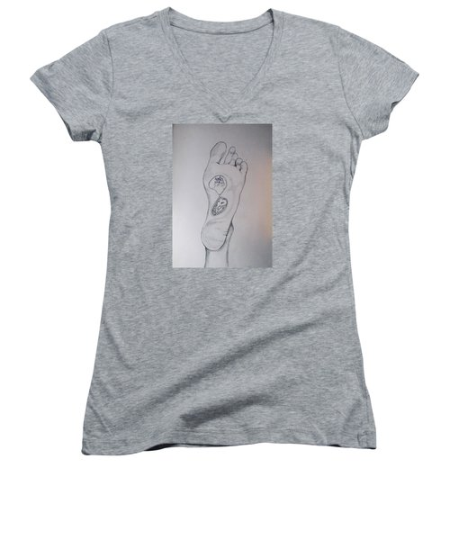 Women's V-Neck T-Shirt (Junior Cut) featuring the drawing Labyrinth Foot Pie Laberinto by Lazaro Hurtado