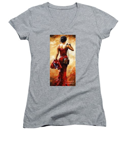 Lady In Red #25 Women's V-Neck T-Shirt (Junior Cut) by Emerico Imre Toth