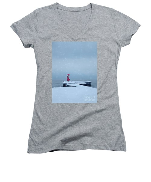 Lady In Red On Snowy Pier Women's V-Neck (Athletic Fit)