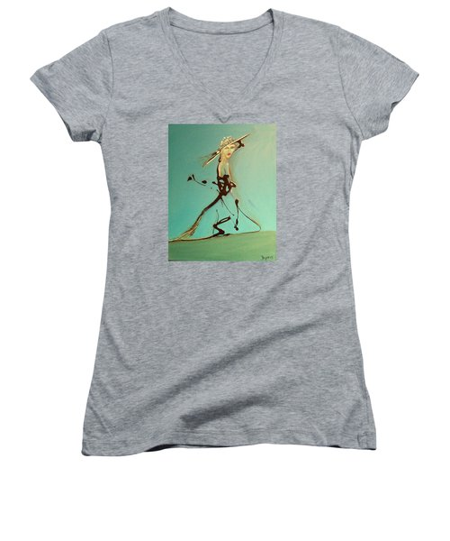 Lady In The Hat Women's V-Neck T-Shirt (Junior Cut) by Kicking Bear  Productions