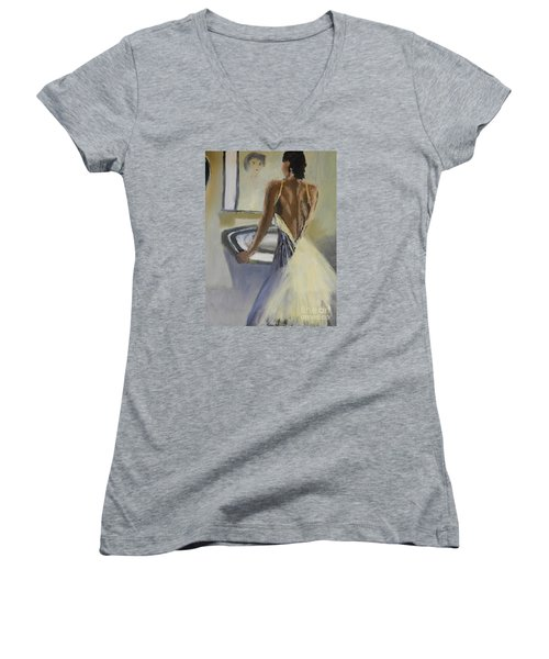 Women's V-Neck T-Shirt (Junior Cut) featuring the painting Lady In The Mirror by Pamela  Meredith