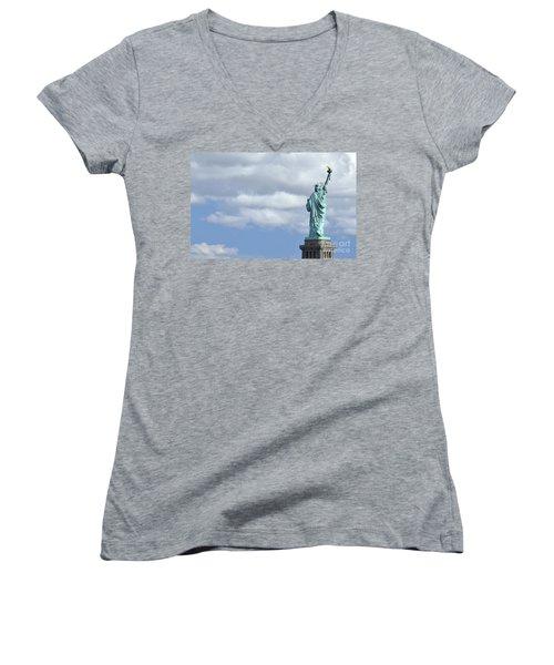 Lady Liberty   1 Women's V-Neck T-Shirt (Junior Cut) by Allen Beatty