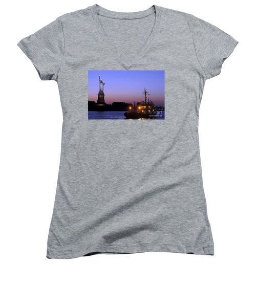 Women's V-Neck T-Shirt (Junior Cut) featuring the photograph Lady Liberty At Dusk by Lilliana Mendez