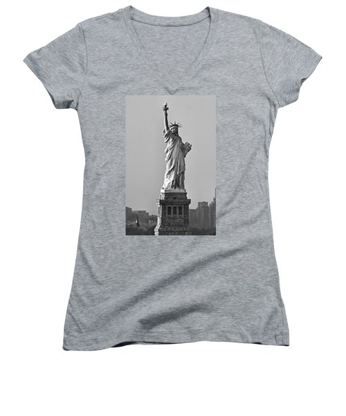 Lady Liberty Black And White Women's V-Neck (Athletic Fit)