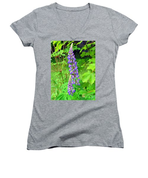 Lady Lupine Women's V-Neck T-Shirt (Junior Cut) by Elizabeth Dow