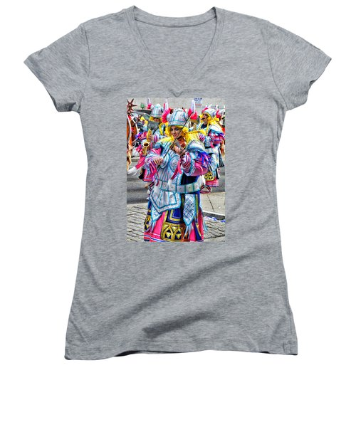 Women's V-Neck featuring the photograph Lady Viking Mummer by Alice Gipson