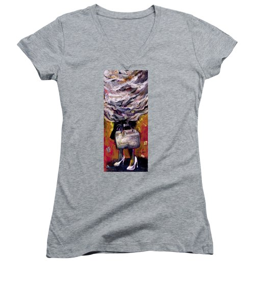 Lady With Suitcase And Storm Cloud Women's V-Neck