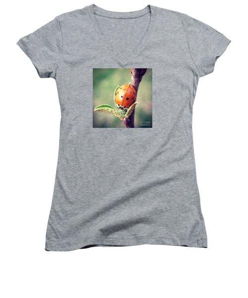 Ladybug  Women's V-Neck T-Shirt (Junior Cut) by Kerri Farley