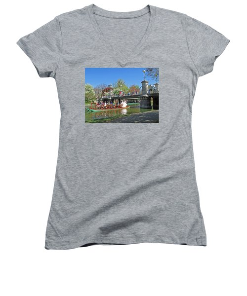 Women's V-Neck T-Shirt (Junior Cut) featuring the photograph Lagoon Bridge And Swan Boat by Barbara McDevitt