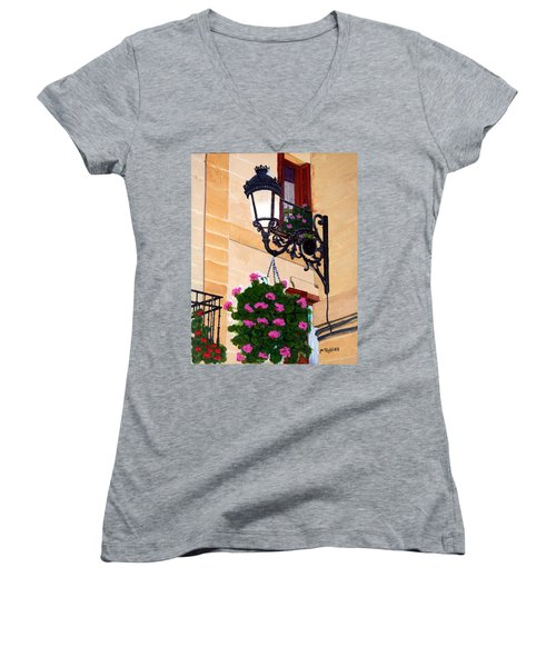 Laguardia Street Lamp  Women's V-Neck T-Shirt (Junior Cut) by Mike Robles