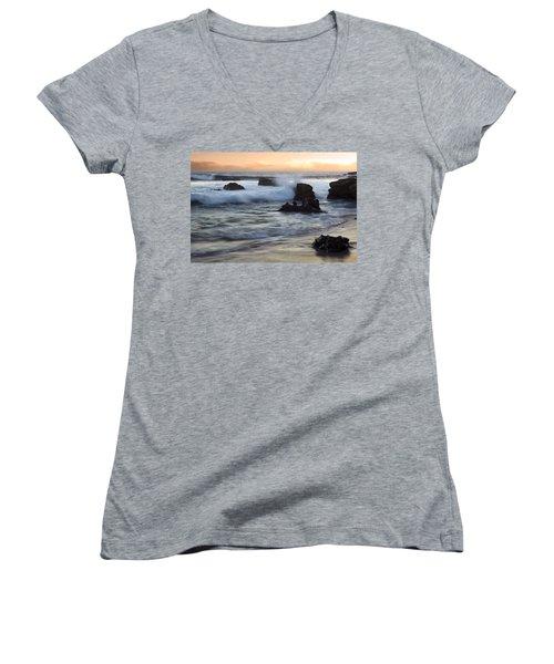 Laguna Sunset Women's V-Neck T-Shirt (Junior Cut)