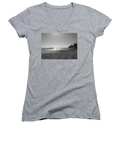 Laguna Sunset Reflection Women's V-Neck T-Shirt (Junior Cut) by Connie Fox