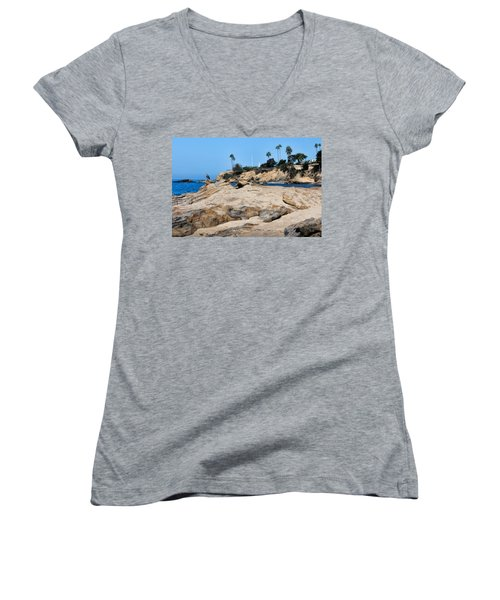 Women's V-Neck T-Shirt (Junior Cut) featuring the photograph Laguna by Tammy Espino