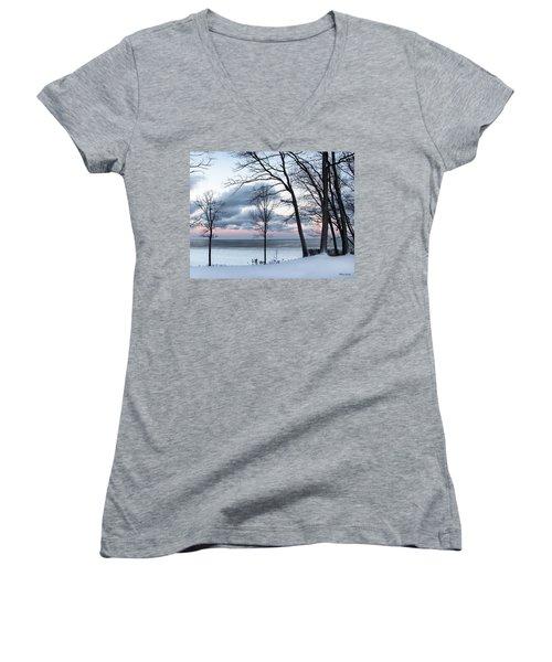 Lake Erie Sunrise Women's V-Neck T-Shirt
