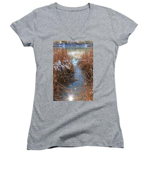 Women's V-Neck T-Shirt (Junior Cut) featuring the photograph Lake Glitter by Diane Alexander