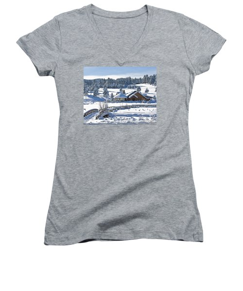 Lake House In Snow Women's V-Neck (Athletic Fit)