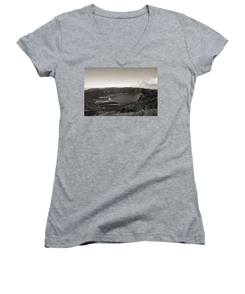 Lake In A Crater Women's V-Neck (Athletic Fit)