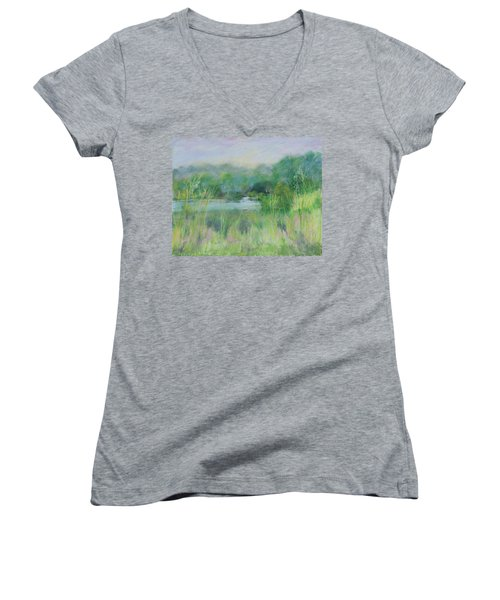 Lake Isaac Impressions Women's V-Neck T-Shirt (Junior Cut) by Lee Beuther