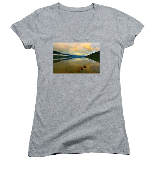Lake Kaniere New Zealand Women's V-Neck T-Shirt (Junior Cut) by Amanda Stadther