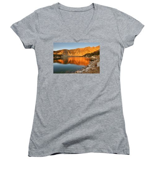 Lake Katherine Sunrise Women's V-Neck T-Shirt (Junior Cut) by Alan Ley