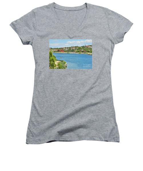 Women's V-Neck T-Shirt (Junior Cut) featuring the photograph Lake Las Vegas In May by Emmy Marie Vickers