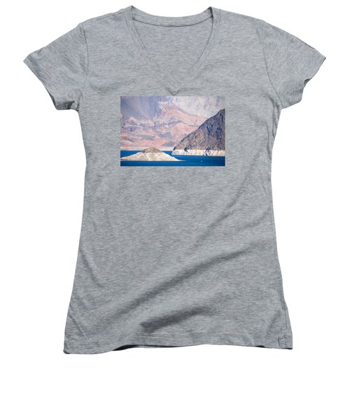Women's V-Neck T-Shirt (Junior Cut) featuring the photograph Lake Mead National Recreation Area by John Schneider