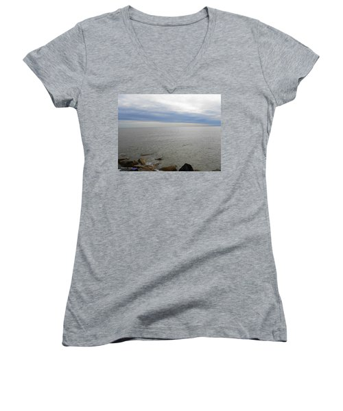 Lake Michigan 3 Women's V-Neck T-Shirt (Junior Cut) by Verana Stark